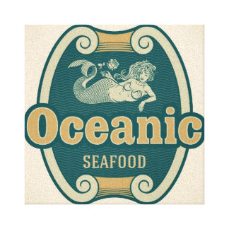 Retro-styled mermaid seafood label canvas print