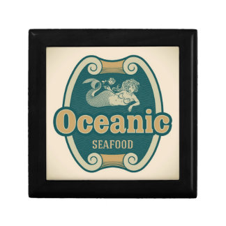 Retro-styled mermaid seafood label gift box