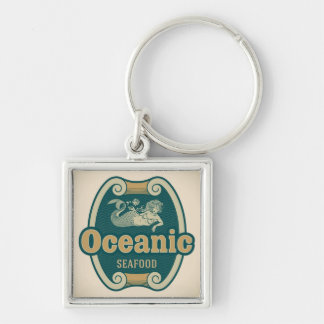 Retro-styled mermaid seafood label Silver-Colored square key ring