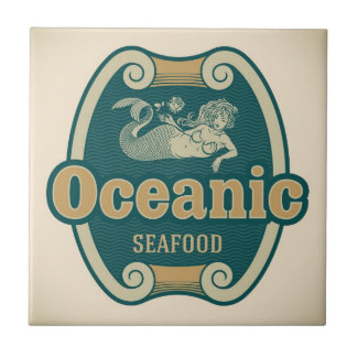 Retro-styled mermaid seafood label tile