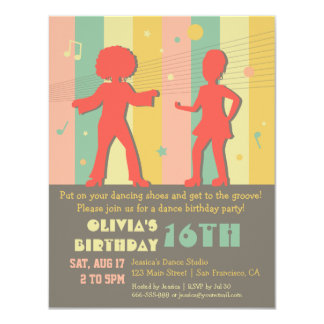 Retro Stylish Teen Disco Dance Birthday Party 4.25x5.5 Paper Invitation Card