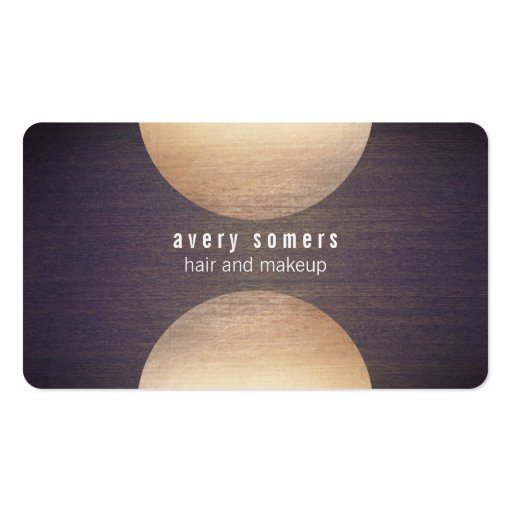 Retro Stylist Gold Circle and Wood Grain Look Hip Business Card Template