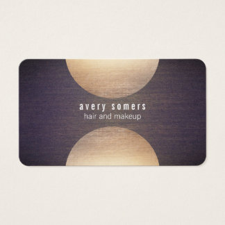 Retro Stylist Gold Circle and Wood Grain Look Hip Business Card