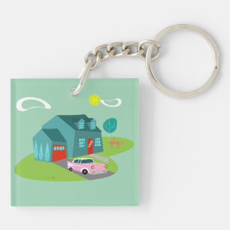 Retro Suburban House Acrylic Keychain