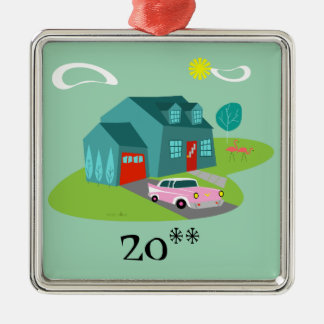 Retro Suburban House Christmas Ornament