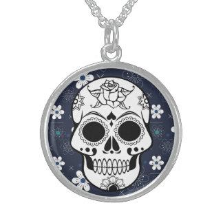 Retro Sugar skull blue Customizable Necklace