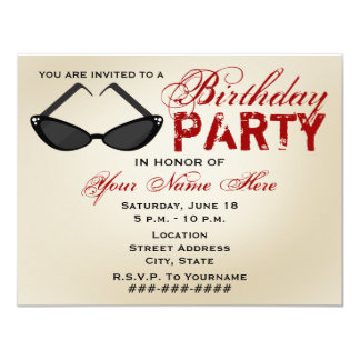 Retro Sunglasses Birthday Party Invitation