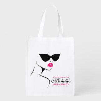 Retro sunglasses hair and beauty make up branding reusable grocery bag