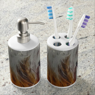 Retro Sunlight and Grey Soap Dispenser And Toothbrush Holder
