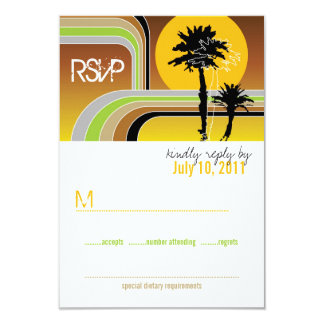 Retro Sunset Tropical Palm Trees Wedding RSVP Card