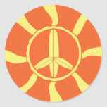 Retro Surfboard Peace Sign Round Sticker