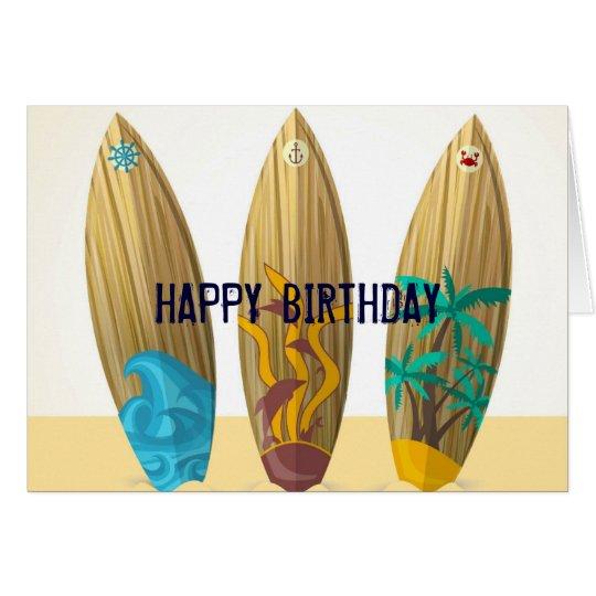 Retro Surfboard trio Summer beach birthday Card