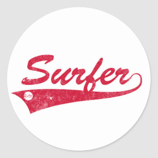 Retro Surfer Classic Round Sticker