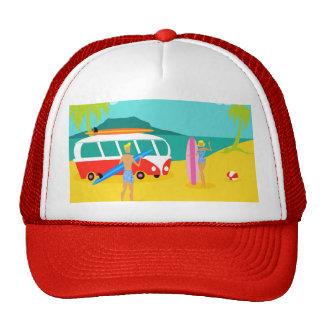 Retro Surfer Couple Trucker Hat