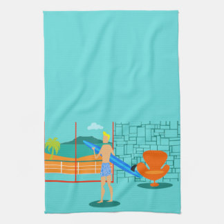 Retro Surfer Dude Kitchen Towel