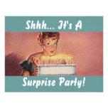 Retro Surprise Party Gal Birthday Cake Invitations