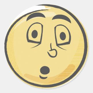 Retro Surprised Emoji Classic Round Sticker