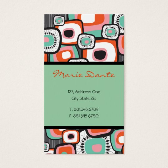 Retro Sushi Flower Squares Custom Profile Card