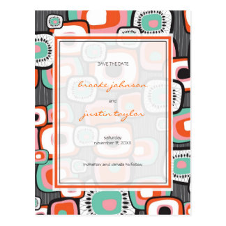 Retro Sushi Flower Squares Save The Date Postcard