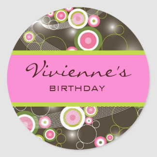 Retro Sweet Pink Circles Glow Gift Label Sticker