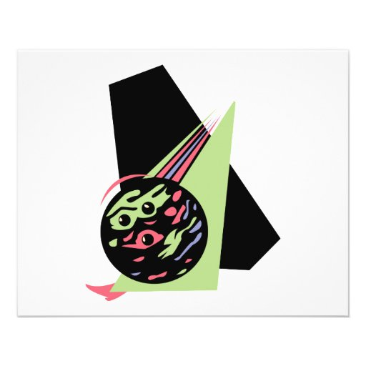 retro swirl bowling ball full color flyer