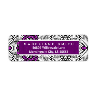 Retro Swirly Leaf Print in Purple and White Return Address Label