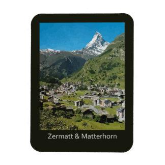 Retro Swiss travel Zermatt and Mount Matterhorn Rectangular Photo Magnet