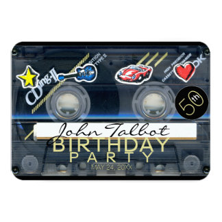 Retro T3 Audiotape 50th birthday Party Invitation