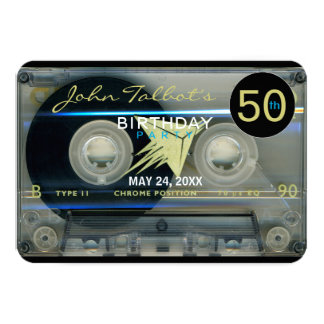 Retro T5 Audiotape 50th birthday Party Invitation