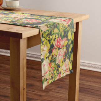Retro table runner with beautiful roses