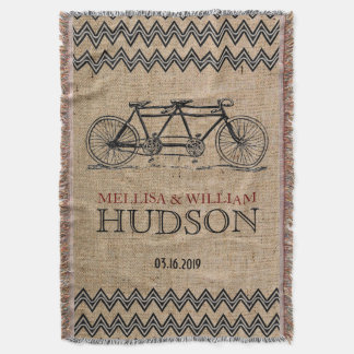 Retro Tandem Bicycle Zigzag Chevron Wedding Gift