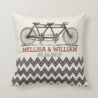 Retro Tandem Bicycle Zigzag Chevron Wedding Gift Cushion