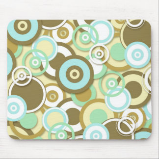 Retro Targets Pattern in Coffee and Pastels Mouse Pad