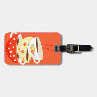 Retro tea vintage tea cups whimsical art luggage tag