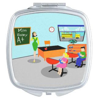 Retro Teacher Compact Mirror