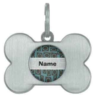 Retro Teal and Taupe Rings Pattern Pet Name Tag