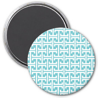 Retro Teal Blue and White Geometric Pattern Magnets
