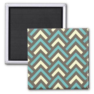 Retro Teal Blue Chevron Stripes Pattern Square Magnet
