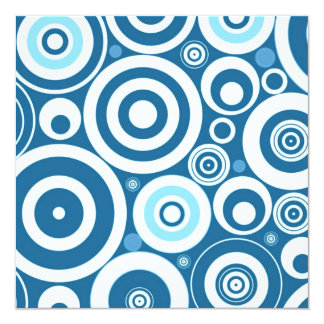 Retro Teal Blue Funky Mod Circles Pattern Personalized Announcement
