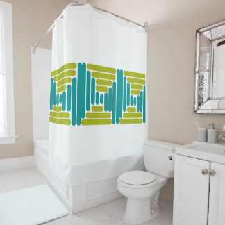 Retro Teal & Green Abstract Shower Curtain