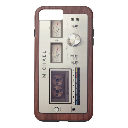 Retro Tech Vintage Stereo Recorder Wooden Cabinet iPhone