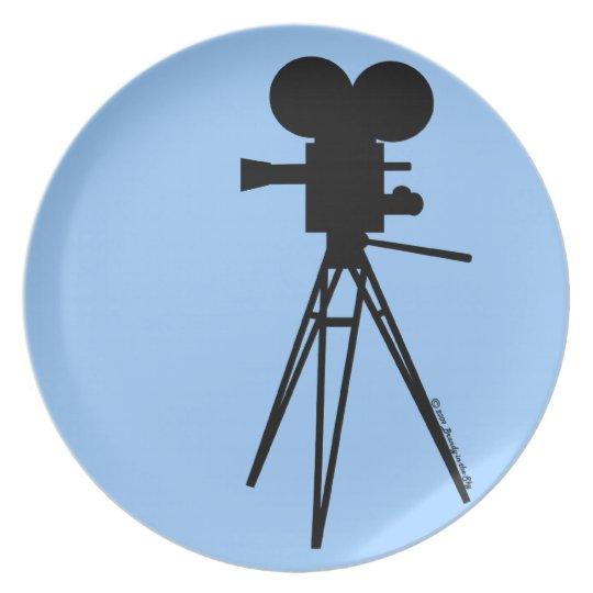 Retro Technicolor Movie Camera Silhouette Plate