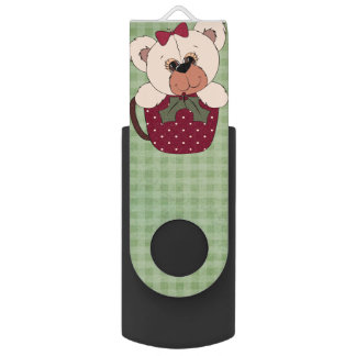 Retro Teddy Bear Christmas Swivel USB 3.0 Flash Drive