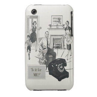 Retro Telephone Ad Family Midcentury Modern iPhone 3 Case-Mate Case