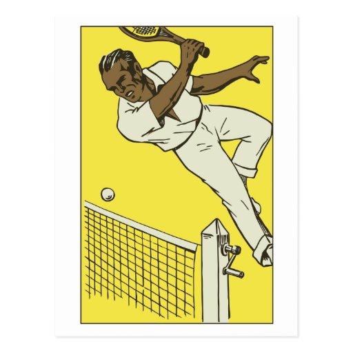 Retro tennis championship ad post card