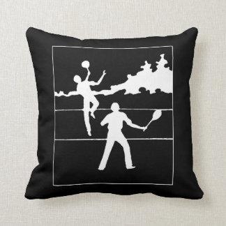 Retro Tennis Silhouette Throw Pillow