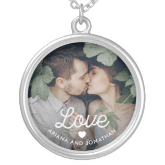 Retro Text | Love with Heart and Your Photo Silver Plated Necklace