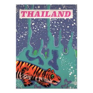 Retro Thailand tiger travel poster Photo