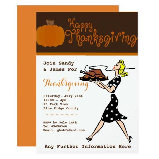 Retro Thanksgiving Dinner Party Invitations Custom
