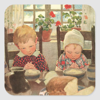 Retro Theme Children Blessing their meal Stickers